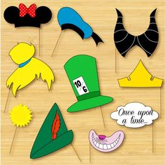 Disney Photo Booth Props - Mickey Mouse, Disney Princess, Pooh, Peter Pan - DIY, Printable, Digital, Photobooth