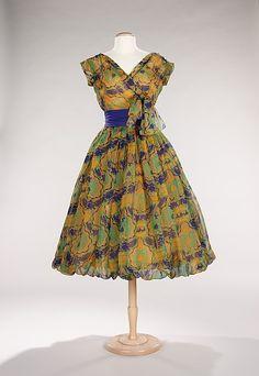 Dior cocktail dress 1956. looks like mardi gras!