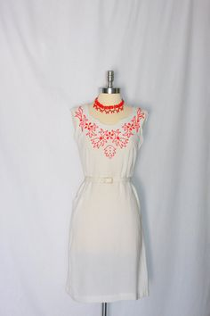 Vintage 1950's Dress   White Linen with Red Beading by VintageFrocksOfFancy