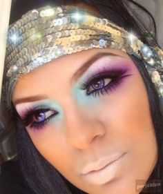 Teal & purple eyeshadow w- nude lips