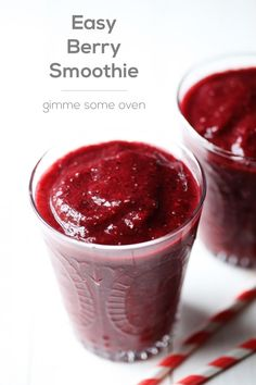 Easy Berry Smoothie |   1 cup frozen fruit 1 cup coconut water. gimmesomeoven.com