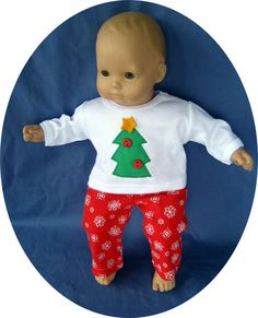 christmas doll clothes   American Girl BITTY BABY Doll Clothes, Christmas PAJAMAS, Christmas ...