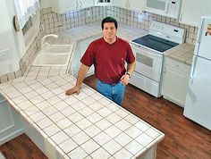 Install Tile Over Laminate Countertop and Backsplash  DIY remodeling expert Fuad Reveiz shows how to lay ceramic tiles over a laminate countertop and how to install a tile backsplash to match the new countertop.    More in Kitchen