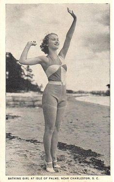 Vintage Postcard - Bathing Girl Isle of Palms