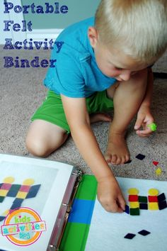 Great ideas for a DIY travel book or quiet time book for kids.  Simple independent games they can do themselves from Kids Activities Blog.