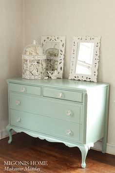 paint color:Dresser refinished in Benjamin Moore's Azores (Pottery Barn color) by Migonis Home.