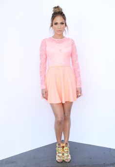 J.Lo was super pretty in pink when she rocked an ASOS dress on American Idol. Shop the look: http://asos.to/1kVI3tJ