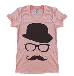 Women's Mustache Hat Wayfarer T Shirt - American Apparel - S M L XL (20 Color Options). $21.00, via Etsy.