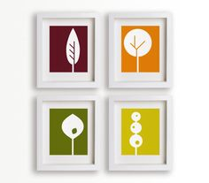 Set of Four 5x7 Geometric Trees - modern art, wall decor, living room decor, dining room decor, fall colors, autumn. $39.95, via Etsy.