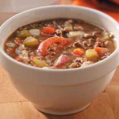 Beef Barley Lentil Soup  One serving (1-1/2 cups) equals 241 calories, 5 g fat (2 g saturated fat), 17 mg cholesterol, 660 mg sodium, 33 g carbohydrate, 9 g fiber, 18 g protein. Diabetic Exchanges: 2 lean meat, 1-1/2 starch, 1 vegetable.
