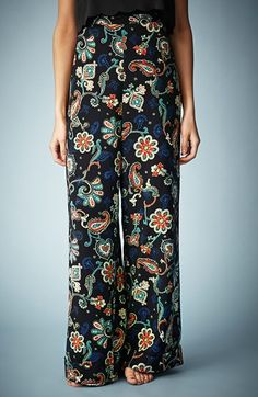 Kate Moss for Topshop Paisley Wide Leg Pants available at #Nordstrom