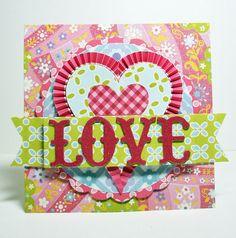 Lizzie paper kit Love by heidivanlaar, via Flickr heart, card ideasanna, griffin card, pleat ruffl, papers, ruffles