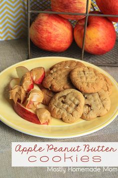 Apple Peanut Butter Cookies - Classic peanut butter cookies get an apple twist! Perfect for the lunch box or to dip in your morning coffee!