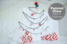 Painted Glass Advent Calendar and Pom Pom Tree