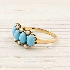 antique victorian gold turquoise & pearl ring. turquois ring, pearl rings, turquoise, vintage, pearls, turquois jewelri, victorian gold, vintag turquois, turquois pearl