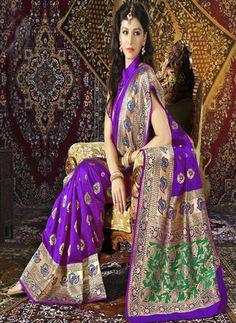 USD 90.94 Purple Silk Party Wear Saree 28925