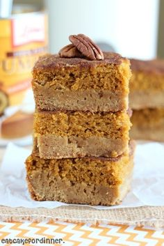 Pumpkin Pie Snickerdoodle Bars. The bottom layer tastes like a chewy, brown sugar, sugar cookie.  It has a rich caramel flavor. The pumpkin pie layer is a creamy pumpkin pie filling and the cinnamon sugar mixture on top is crunchy and delicious!