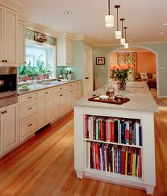 bookcase island + open kitchen + white cabinets cookbook, cabinet colors, kitchen colors, bookcas, kitchens white cabinets, kitchen sinks, open kitchens, kitchen layouts, dream house3