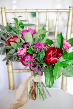 pink and red wedding bouquet designed by Amy Osaba
