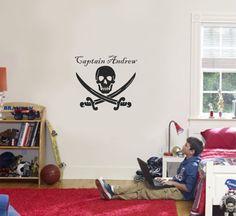 Pirate Name Swords Wall Decal Nautical Boy Girl Vinyl Sticker Decor. $25.00, via Etsy.