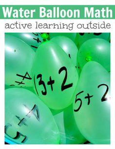 My kids would love this! Water balloon math game .
