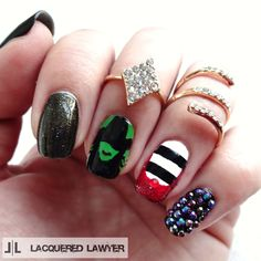 This is so amazing with the Rhinestone Spiral Midi Ring & Like a Diamond Ring! Lacquered Lawyer | Nail Art Blog: Wicked Witch
