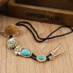 Black braided rope chain plated alloy plant flowers inlaid turquoise pendant 2014 fashion Bohemian ethnic style sweater necklace-in Chain Ne...