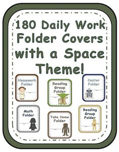 Star Wars Themed Classroom Work Folders!  180 Daily Work Folder Covers With a Space Theme!  Each folder comes in all six characters. Darth Vader, Yoda, Leia, Chewbacca, R2D2 and C3P0! Fern Smith's Classroom Ideas! $