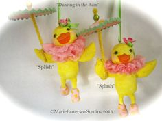 Spun cotton Duckling sisters for Easter