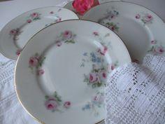 Vintage Germany Pink Blue Floral Dessert Plates Set by jenscloset, $14.50