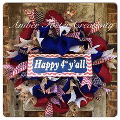 Fourth of July Burlap Wreath by FosterCreativity on Etsy, $90.00