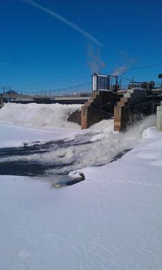 Half frozen dam, Little Falls MN.