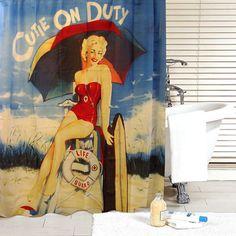 Aquarius Bath Fashions Cutie On Duty Shower Curtain in Multicolor - Beyond the Rack bath beauti, duti shower, aquarius bath, bath fashion, bathing beauties, shower curtains