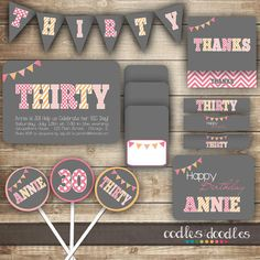30th Birthday PARTY PACKAGE / Thirtieth Birthday / Thirty by OandD, $35.00