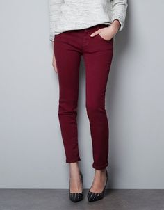 I was thinking I needed a pair of red pants until I kept seeing this burgandy/oxblood color. More mature than a bright red.