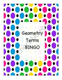 Geometry Terms BINGO from PamBlack on TeachersNotebook.com -  (8 pages)  - BINGO review game for basic geometry terms.