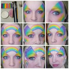 """Rainbow butterfly face painting tutorial using """"Cameron's Bliss"""" custom split and one stroke www.FacePaintShop.com By Making Faces & Tutus www.makingfaces.vpweb.com"""