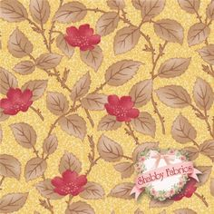 "Lario 44005-18 Buttercup By 3 Sisters For Moda Fabrics: Lario is a collection by 3 Sisters for Moda Fabrics.  100% cotton.  43/44"" wide.  This fabric features all over red flowers with brown leaves on a yellow background."
