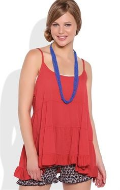 Deb Shops Tiered Babydoll Tank Top with Spaghetti Straps and Open Back