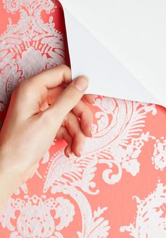 Need a temporary change of scenery? Try this removable wallpaper in silver and coral! http://rstyle.me/n/cyig6nyg6