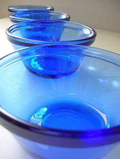 Cobalt Glass Custard Cups Set of