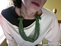 recycled tshirt braided necklace
