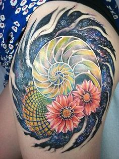 my Golden Ratio/Fibonacci inspired tattoo on my upper left thigh.  The concept and general finalized design and tattoo was done by Memo Espino  at Insight Studios in Chicago.  It took a total of about 10.5 hours.