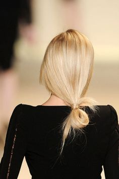Low bun. poni, runway hair, fashion styles, long hair, blond, girl hairstyles, work hairstyles, knot, hair buns
