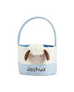 Personal Creations #Gifts  #Personalizedgifts Easter Lamb Basket - Blue - Great Personalized Gifts via- http://www.AmericasMall.com/personalcreations-gifts