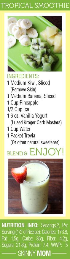 DELICIOUS Skinny Tropical Fruit Smoothie! Great for a quick breakfast on the go or a snack mid-day!...add coconut