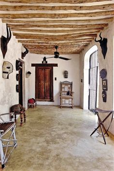 decor, african inspir, french interiors, beams, african house, ceilings, african style, painted concrete floors, painted floors