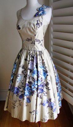 1950's Cotton Purple Floral Print Full Skirt Vintage Sundress