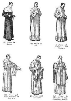 Priestly vestments:  what they symbolize, and the accompanying vesting prayers.  http://www.catholicfirst.com/thefaith/themass/massvestments.html#vestdesc