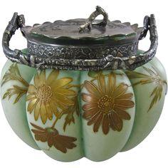 Mt. Washington Pairpoint Crown Milano Melon Ribbed Cracker Jar